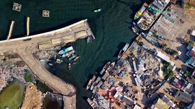 Aerial Photography of Town Near Body of Water royalty free stock images