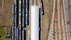 Aerial photography of trains in Nantes Blottereau station royalty free stock photos