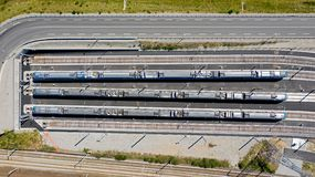 Aerial photography of trains in a row royalty free stock photo