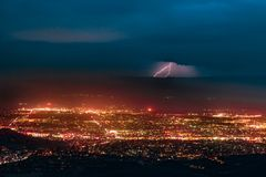Aerial Photography of Urban City Overlooking Lightning during Nighttime Royalty Free Stock Photo