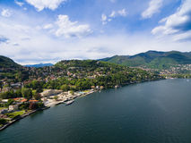 Aerial photography view of Como city and lake near Milan in Ital Stock Photography