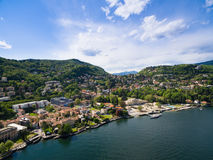 Aerial photography view of Como city and lake near Milan in Ital Stock Photo