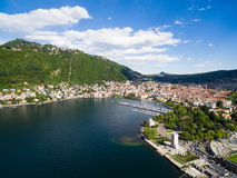 Aerial photography view of Como city and lake near Milan in Ital Royalty Free Stock Photography