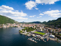 Aerial photography view of Como city and lake near Milan in Ital Royalty Free Stock Image