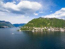 Aerial photography view of Como city and lake near Milan in Ital Stock Photos