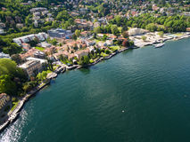 Aerial photography view of Como city and lake near Milan in Ital Royalty Free Stock Photos