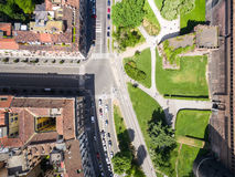 Aerial photography view of Sforza castello castle in Milan city. In Italy stock photo