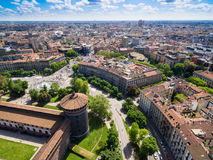 Aerial photography view of Sforza castello castle in Milan city. In Italy royalty free stock photography