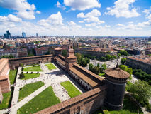 Aerial photography view of Sforza castello castle in Milan city. In Italy stock photos