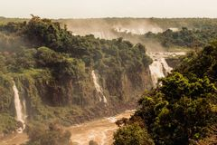 Aerial Photography of Waterfalls on Forest stock photo