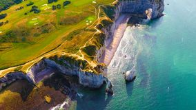 Aerial photography of the white chalk cliffs in Etretat Stock Photography