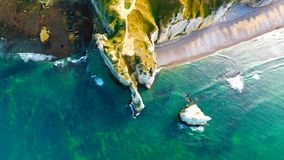 Aerial photography of the white chalk cliffs in Etretat Royalty Free Stock Image