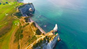 Aerial photography of the white chalk cliffs in Etretat Royalty Free Stock Photo