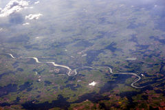 Aerial photography of winding river Stock Photos