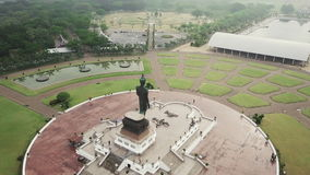 Aerial photos, aerial view of statues of buddha at Wat Thipsukhontharam,Kanchanaburi province,Thailand,Phra Buddha Metta,They are stock footage