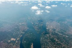 Aerial Photos Made From An Airplane Above Cairo Royalty Free Stock Photos