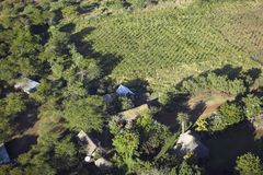 Aerial photos of overlooking Lewa Conservancy and lodging in Kenya, Africa Royalty Free Stock Photos
