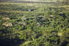 Aerial photos of overlooking Lewa Conservancy and lodging in Kenya, Africa Royalty Free Stock Photography