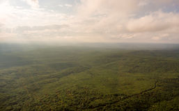 Aerial Photos. Panoramic landscape. The rays sun breaking clouds Stock Photography