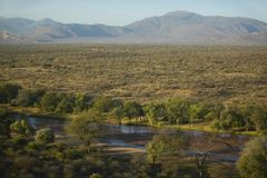 Aerial photos of river and Lewa Conservancy in Kenya, Africa Royalty Free Stock Photography