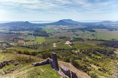 Aerial picture from a ancient castle ruin from Hungary on the volcano hill Csobanc, near lake Balaton.  royalty free stock images