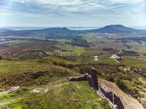 Aerial picture from a ancient castle ruin from Hungary on the volcano hill Csobanc, near lake Balaton.  royalty free stock photography