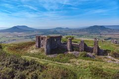 Aerial picture from a ancient castle ruin from Hungary on the volcano hill Csobanc, near lake Balaton.  royalty free stock image