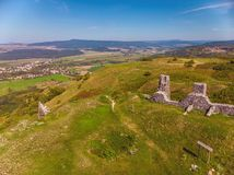 Aerial picture from a ancient castle ruin from Hungary on the volcano hill Csobanc, near lake Balaton.  stock photos