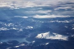 Aerial picture of the Andes mountain range, Chile.  Stock Photo
