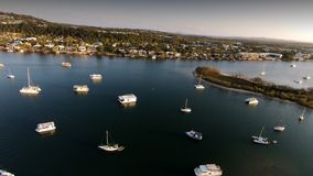 Aerial picture image of Noosa Boat Moorings. Boat Moorings Noosa River with Noosa Sound in Background and expensive homes Royalty Free Stock Images