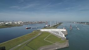 Aerial picture of Maeslantkering storm surge barrier on the Nieuwe Waterweg Netherlands it closes if the city of Rotterdam is stock footage