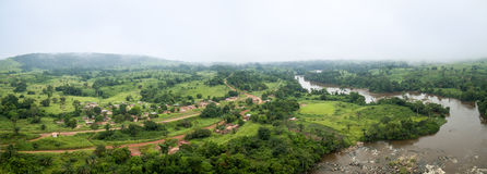 Aerial picture of Makabana village in the western african rainforest , Congo. Stock Photos