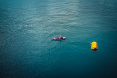 Aerial picture of a man kayaking in the mediterranean sea Stock Images