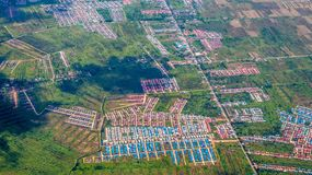 Aerial picture of new residential cluster. royalty free stock image