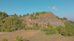 Aerial picture from a old basalt mine in Hungary, village Zalahalap.  stock video