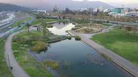Aerial picture of a park, buildings, roads and city landscape in Santiago, Chile Royalty Free Stock Images