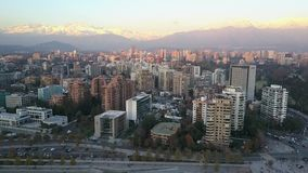 Aerial picture of a park, buildings, roads and city landscape in Santiago, Chile Royalty Free Stock Photography