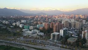 Aerial picture of a park, buildings, roads and city landscape in Santiago, Chile Stock Images
