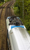 Aerial Picture  of Passing train. And railroad tracks Stock Images