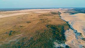 Aerial picture of some beautiful desert sand dunes. Santa Cruz, Bolivia - SEPT 5 2018: aerial picture of some beautiful desert sand dunes Royalty Free Stock Photo