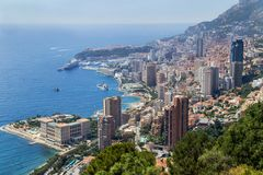 Aerial, picturesque view over the Monaco. France. Aerial, picturesque view over the city cityscape image Monaco. Monte Carlo, Cote d`Azur, France. French stock photos