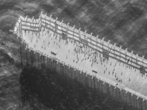 Aerial: The Pier at the Beached Cement Ship, SS Palo Alto royalty free stock images