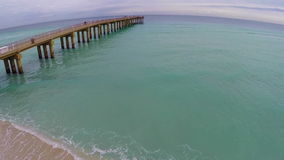 Aerial pier stock video footage