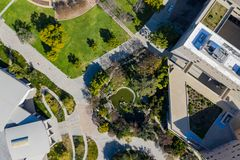 Aerial plan view of the Japanese Garden in Cal Poly Pomona campus. California royalty free stock images