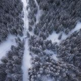 Aerial drone view of road in idyllic winter landscape. from a birds eye view. royalty free stock photos