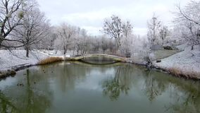 Aerial: The pond in a public park. Aerial: Snow-covered public park in Kaliningrad, Russia stock video