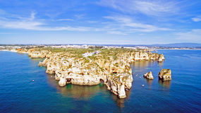 Aerial from Ponta Piedade with the lighthouse in Lagos Portugal Stock Photo