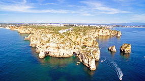 Aerial from Ponta Piedade with the lighthouse in Lagos Portugal Royalty Free Stock Photography