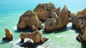 Aerial from Ponte Piedade in Lagos Portugal stock footage