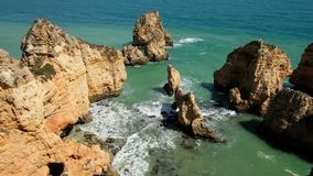 Aerial from Ponte Piedade in Lagos Portugal stock video footage